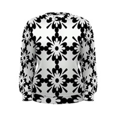 Floral Illustration Black And White Women s Sweatshirt