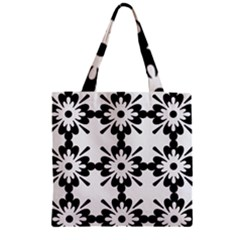 Floral Illustration Black And White Zipper Grocery Tote Bag