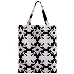 Floral Illustration Black And White Zipper Classic Tote Bag