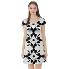 Floral Illustration Black And White Short Sleeve Skater Dress