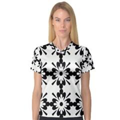 Floral Illustration Black And White Women s V Neck Sport Mesh Tee