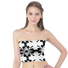 Floral Illustration Black And White Tube Top