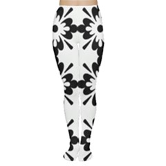 Floral Illustration Black And White Women s Tights