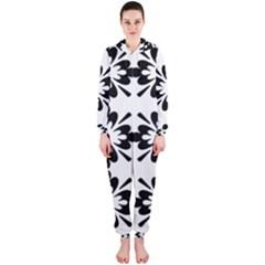 Floral Illustration Black And White Hooded Jumpsuit (ladies)
