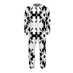 Floral Illustration Black And White Onepiece Jumpsuit (kids)