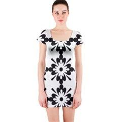Floral Illustration Black And White Short Sleeve Bodycon Dress