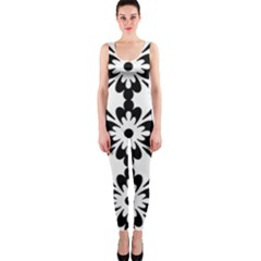 Floral Illustration Black And White Onepiece Catsuit