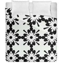 Floral Illustration Black And White Duvet Cover Double Side (california King Size)