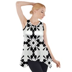 Floral Illustration Black And White Side Drop Tank Tunic