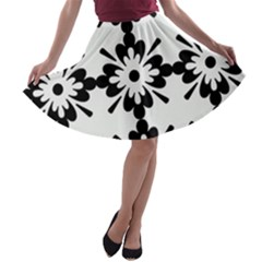 Floral Illustration Black And White A Line Skater Skirt