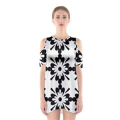 Floral Illustration Black And White Shoulder Cutout One Piece
