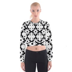 Floral Illustration Black And White Women s Cropped Sweatshirt