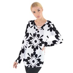 Floral Illustration Black And White Women s Tie Up Tee