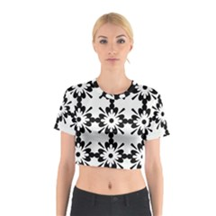 Floral Illustration Black And White Cotton Crop Top