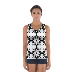 Floral Illustration Black And White Women s Sport Tank Top