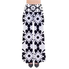 Floral Illustration Black And White Pants