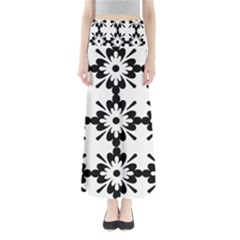 Floral Illustration Black And White Maxi Skirts