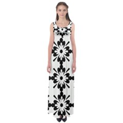 Floral Illustration Black And White Empire Waist Maxi Dress