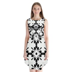 Floral Illustration Black And White Sleeveless Chiffon Dress