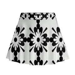 Floral Illustration Black And White Mini Flare Skirt
