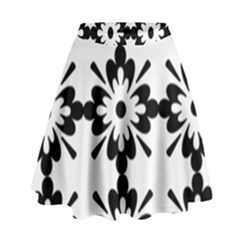 Floral Illustration Black And White High Waist Skirt