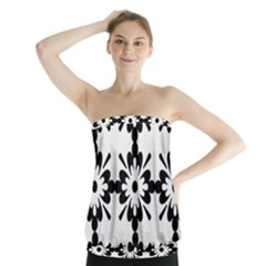 Floral Illustration Black And White Strapless Top