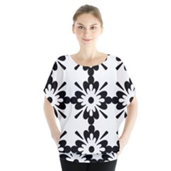 Floral Illustration Black And White Blouse