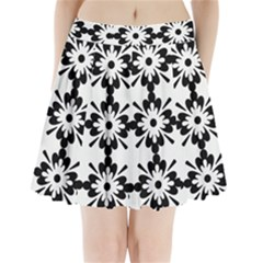 Floral Illustration Black And White Pleated Mini Skirt