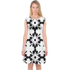 Floral Illustration Black And White Capsleeve Midi Dress