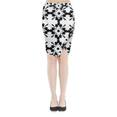 Floral Illustration Black And White Midi Wrap Pencil Skirt