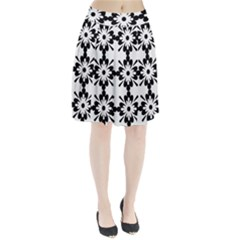 Floral Illustration Black And White Pleated Skirt