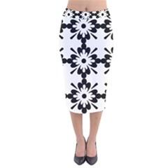 Floral Illustration Black And White Velvet Midi Pencil Skirt