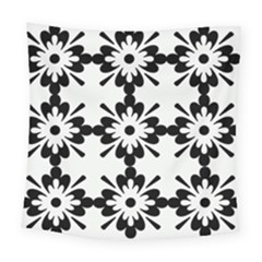 Floral Illustration Black And White Square Tapestry (large)