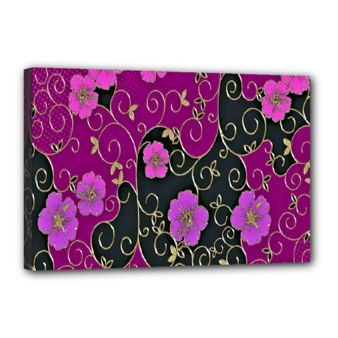 Floral Pattern Background Canvas 18  X 12