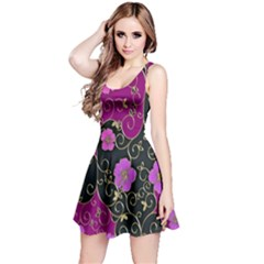 Floral Pattern Background Reversible Sleeveless Dress
