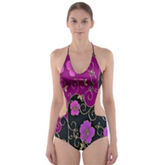 Floral Pattern Background Cut Out One Piece Swimsuit