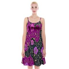 Floral Pattern Background Spaghetti Strap Velvet Dress