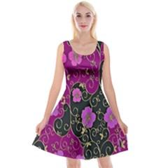 Floral Pattern Background Reversible Velvet Sleeveless Dress