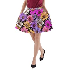 Floral Pattern A Line Pocket Skirt