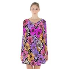 Floral Pattern Long Sleeve Velvet V Neck Dress