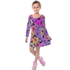 Floral Pattern Kids  Long Sleeve Velvet Dress