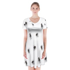 Flies Short Sleeve V-neck Flare Dress