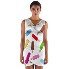 Ice cream pattern Wrap Front Bodycon Dress