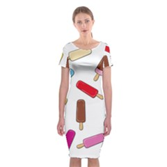 Ice cream pattern Classic Short Sleeve Midi Dress
