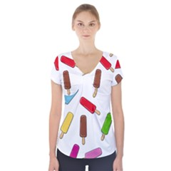 Ice cream pattern Short Sleeve Front Detail Top