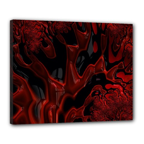 Fractal Red Black Glossy Pattern Decorative Canvas 20  X 16