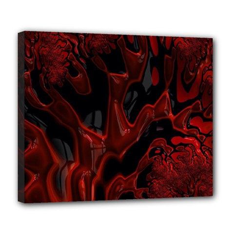 Fractal Red Black Glossy Pattern Decorative Deluxe Canvas 24  X 20