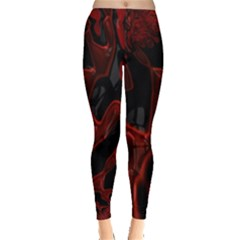 Fractal Red Black Glossy Pattern Decorative Leggings