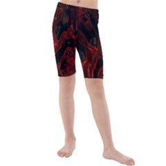 Fractal Red Black Glossy Pattern Decorative Kids  Mid Length Swim Shorts