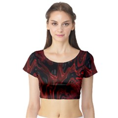 Fractal Red Black Glossy Pattern Decorative Short Sleeve Crop Top (tight Fit)